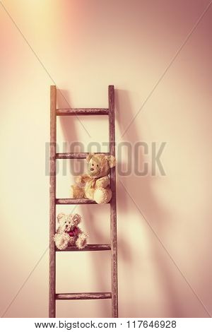 Two teddy bears sitting on a ladder against a wall