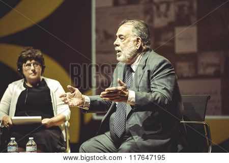 MILAN,ITALY- 26.10.2015.Francis Ford Copolla at the media conference during EXPO Milan 2015