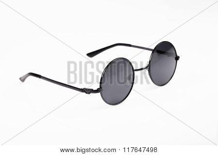 round retro sunglasses on white background