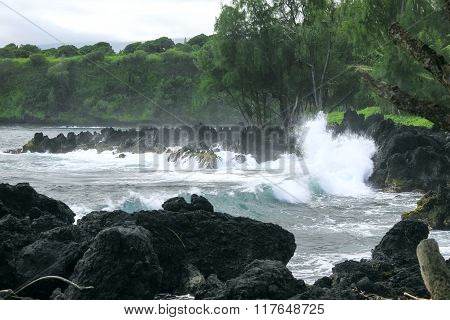 Angry Surf and Black Lava