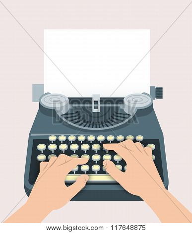 Retro Manual Typewriter With Printing Hands And Sheet Of Paper