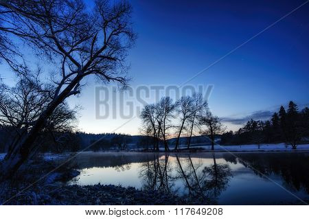 Evening On The Winter River
