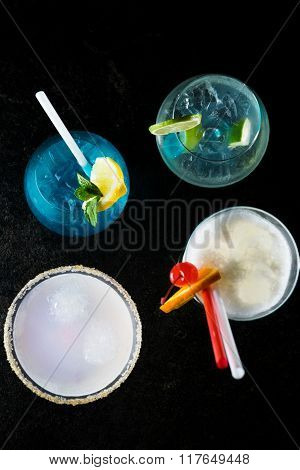 Colorful cocktails isolated