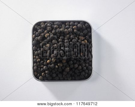 top view of peppercorn on the square container