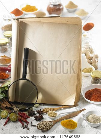 Magnifier on the blank recipe book with spices as the background.