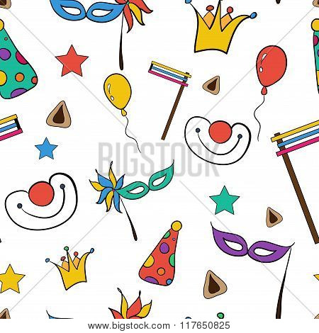 Hand Drawn Seamless Pattern Of Jewish Holiday Purim: Carnival Masks And Hats, Traditional Hamantasch