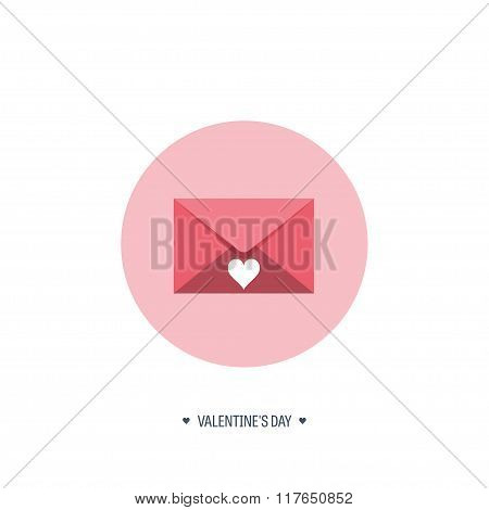 Vector illustration. Flat background with envelope. Love, hearts. Valentines day. Be my valentine. 1