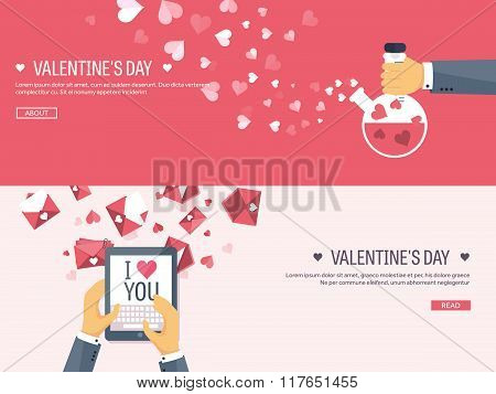 Vector illustration. Flat background with tablet and potion. Love, hearts. Valentines day. Be my val