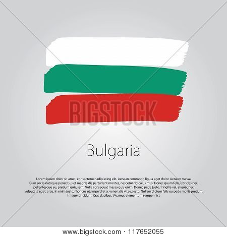 Bulgaria Flag With Colored Hand Drawn Lines In Vector Format