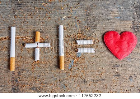 Harm of smoking. Diseased heart and cigarettes