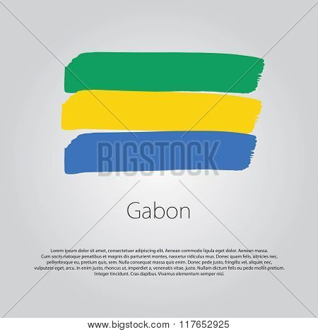 Gabon Flag With Colored Hand Drawn Lines In Vector Format