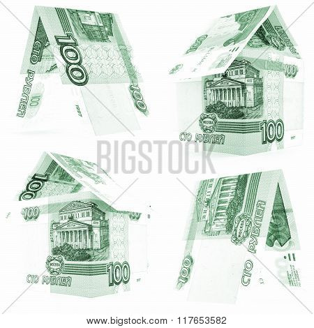 Green 100 Russian Ruble Set, Rouble House Isolated, White Background