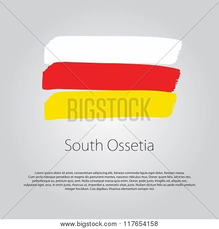 South Ossetia Flag With Colored Hand Drawn Lines In Vector Format