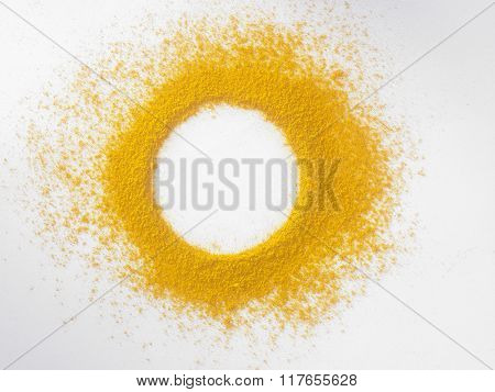 turmeric powder on the white background