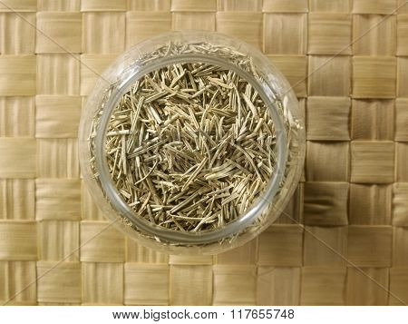 top view of the rosemary in a glass container