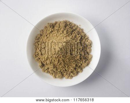 corainder powder on the white background