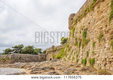 Ancient Fortezza of Rethymno wall at Crete, Greece.