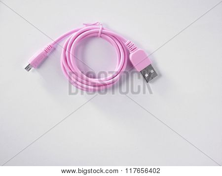 pink color usb cable for smartphone