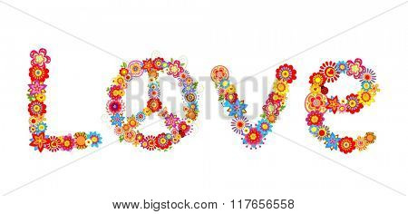 Hippie flowers love letter