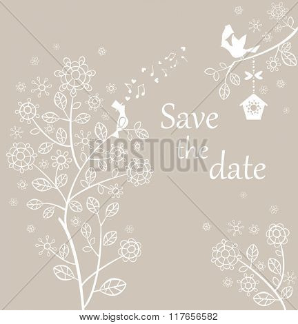 Wedding pastel card with lovely birds and beautiful lacy tree