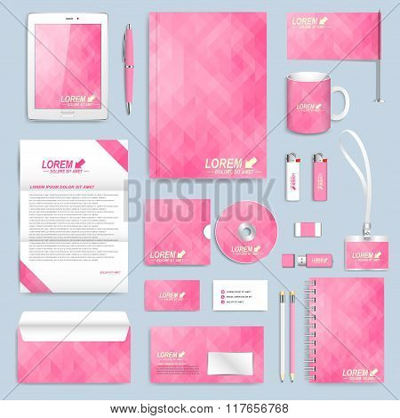 Pink set of vector corporate identity template. Modern business stationery mock-up. Branding design