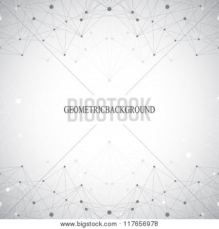 Geometric grey background molecule and communication . Connected lines with dots. Vector illustratio