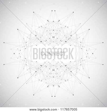 Geometric abstract form with connected line and dots. Graphic background for your design . Vector il