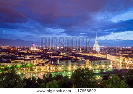 Turin (torino) High Definition Panorama At Twilight