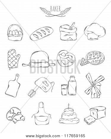 Professional Collection Of Icons And Elements. Set Of Culinary, Baking And Pastry Hand Drawn Element