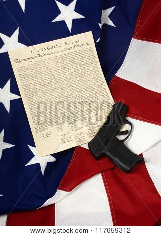 Declaration of Independence with Hand Gun, Vertical