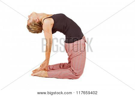 Young woman making a yoga posture on a white background