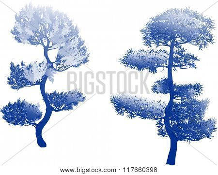 illustration with two blue pine silhouettes isolated on white background