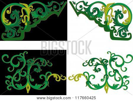 illustration with green decoration elements on black and white background