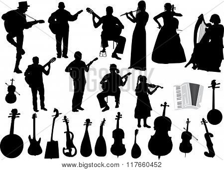 illustration with musicians and musical instruments isolated on white background