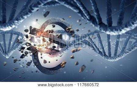 DNA molecule and euro sign