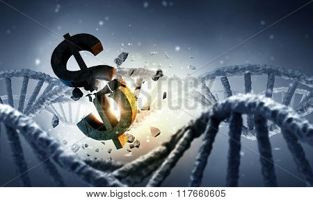 DNA molecule and dollar sign
