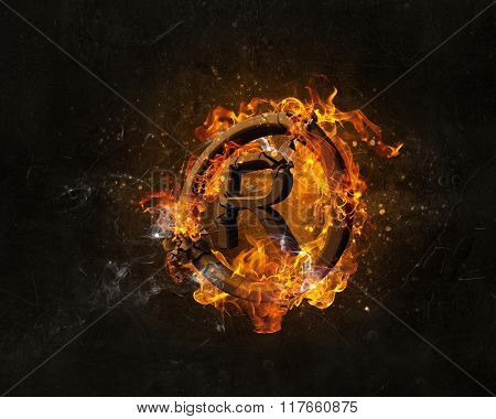 Copyright symbol burning in fire