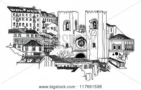 Se Cathedral in Lisbon - Vector illustration