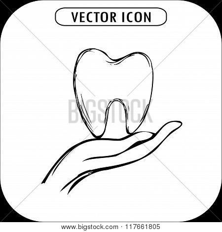 Tooth on hand icon hand drawn vector
