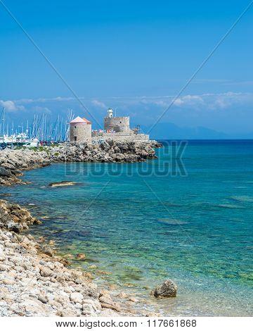 Mandraki harbor view in Rhodes island Greece