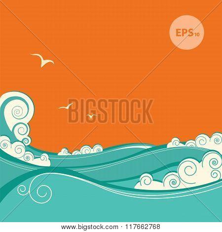 Blue Sea Waves. Vector Illustration Of Seascape