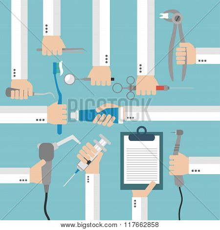 Dental  flat set design concept with hands