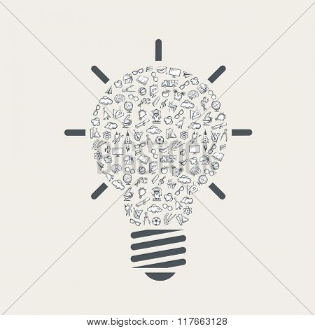 pattern with various education elements as light bulb