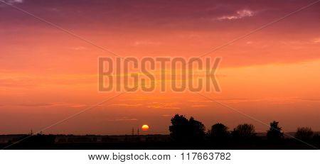 Bright Illumination Sunset in the Sky