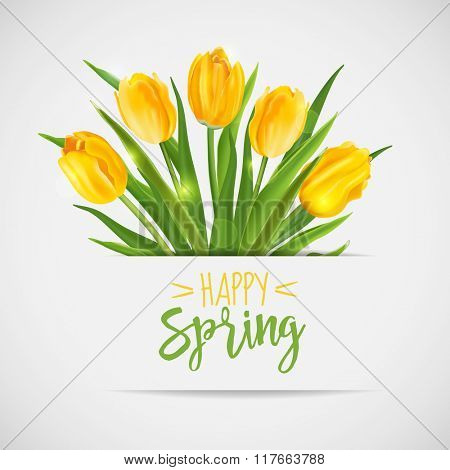 Vintage Spring Card - with Yellow Tulips Flowers - in vector