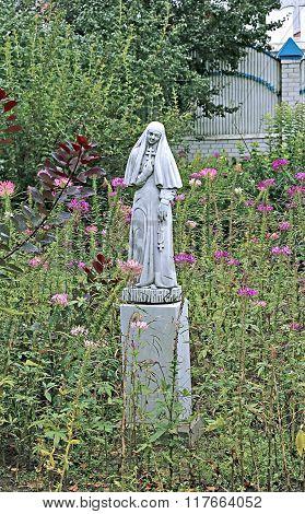 Statue Holy Martyress In Raif Monastery Garden