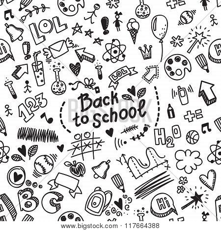 Vector Seamless Hand Drawn Doodle Pattern With Different School Supplies. Back To School Background.