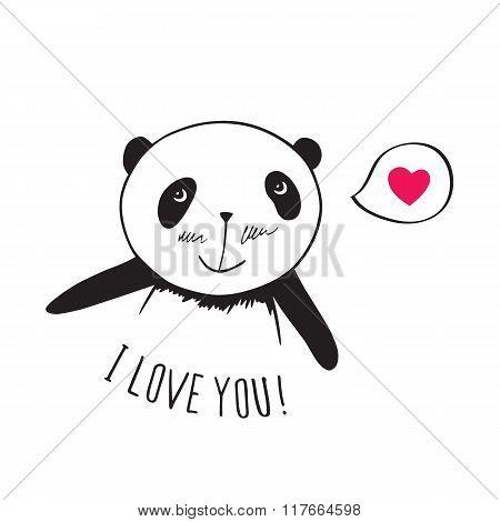 Little cute panda with pink heart.