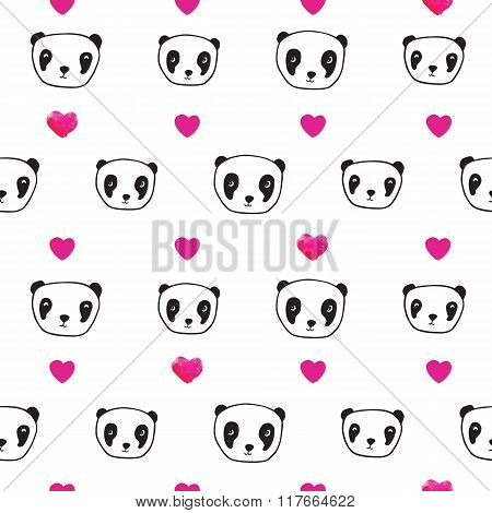 Seamless pattern with pandas and hearts.