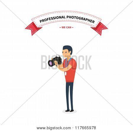 Professional Photographer Man Flat Design